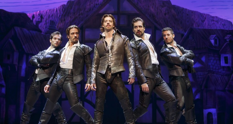 'SOMETHING ROTTEN!' SCOUNDRELS: Christian Borle (center) & (left to right) Ryan VanDenBom, Eric Sciotto, Bud Weber & Aleks Pevek. Photo: Joan Marcus