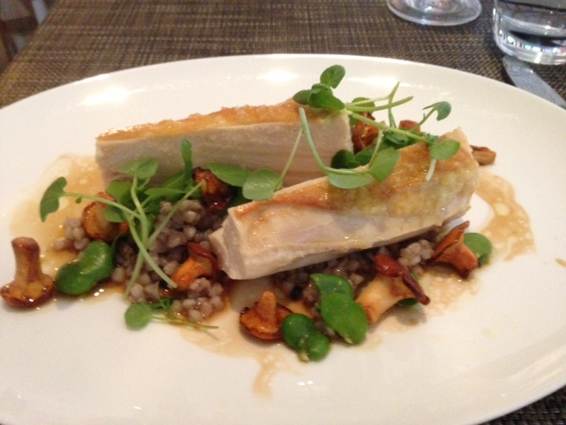 BREAST OF CORN-FED CHICKEN (with buckwheat, broad beans and girolles) at Indigo at One Aldwych. Photo: Scott Harrah