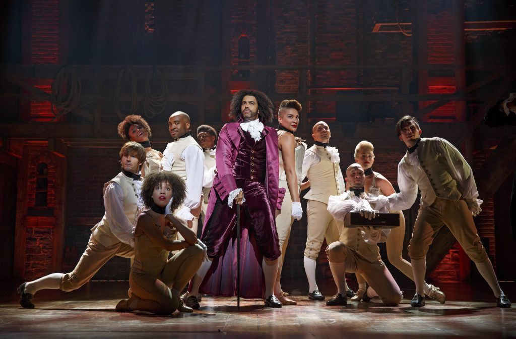 THE SHOW HEARD ROUND THE WORLD: Daveed Diggs (center) as Thomas Jefferson in the revolutionary blockbuster musical 'Hamilton'. Photo: Joan Marcus