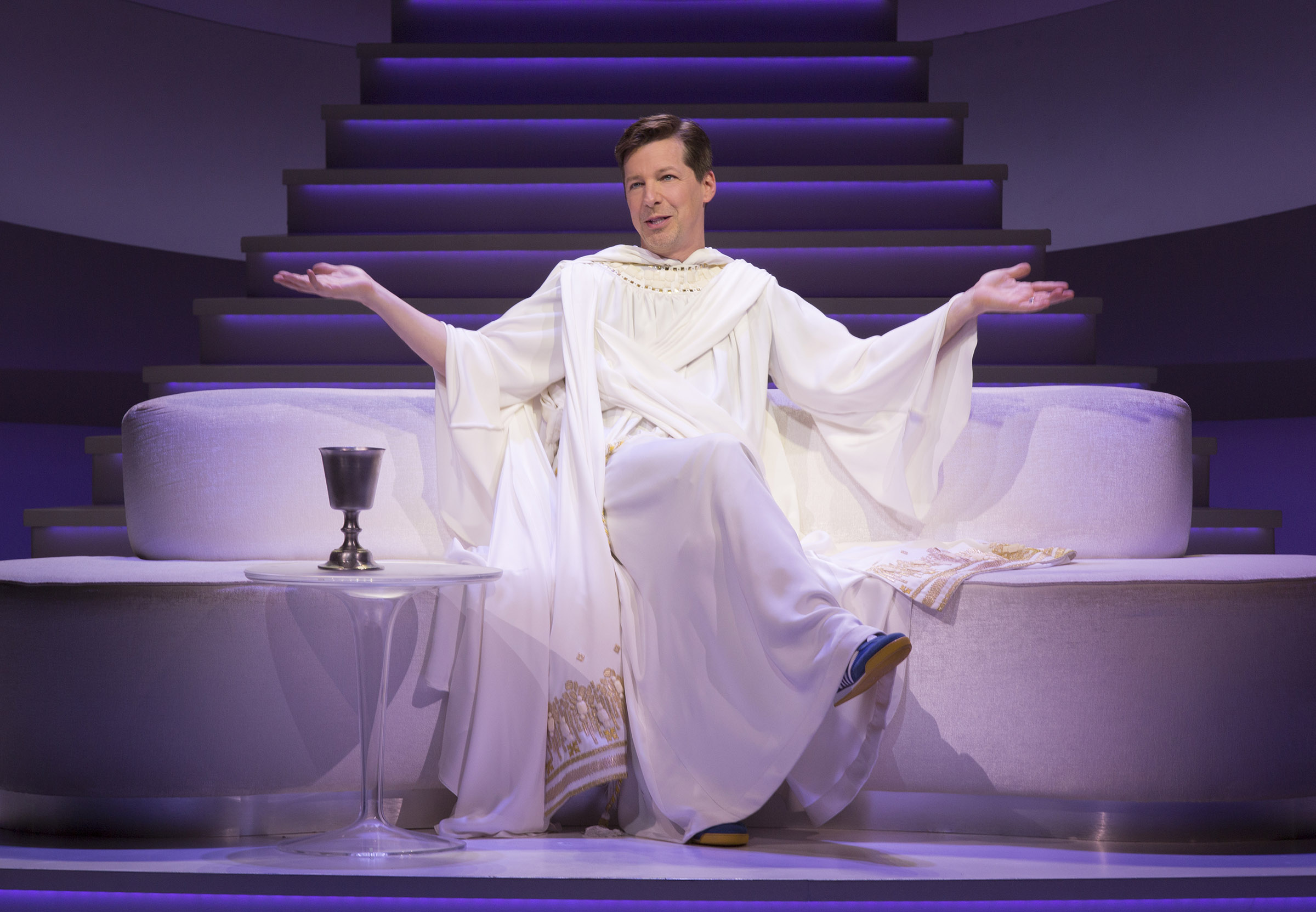 Sean Hayes as God in An Act of God; Photo by Jim Cox